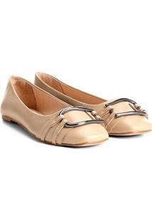 Sapatilha Couro Shoestock Argola Feminina - Feminino-Nude