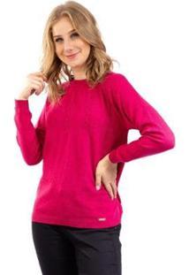 Blusa De Meia Malha Com Tranças Sumaré Feminina - Feminino-Pink