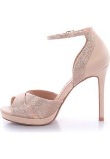Sandália Salto Alto Latelier Talia Glitter Dourado
