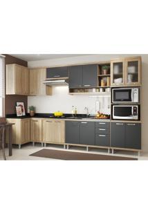 Cozinha Completa Multimóveis Com 7 Peças Sicília 5830 Argila/Grafite