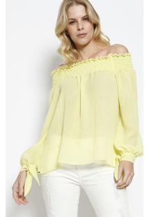 Blusa Ciganinha Com Elástico - Verde Claro Neoncanal