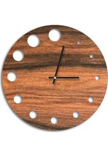 Relógio De Parede Decorativo Premium Amadeirado Com Detalhes Vazado Médio