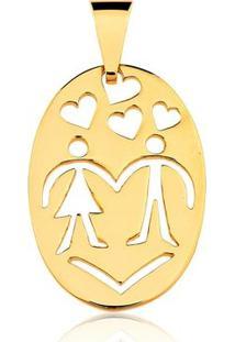 Pingente Toque De Joia Medalha Dos Namorados - Feminino-Dourado