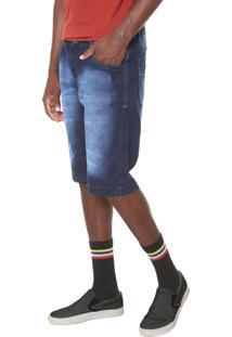 Bermuda Jeans Fiveblu Reta Mustache Azul