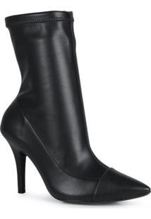 Ankle Boots Feminina Salto Fino Stretch Preto