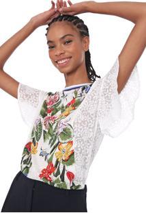 Camiseta Linho Desigual Silvana Off-White/Verde