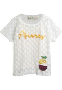 Blusa Fruteira 3 Menina Escrita Branca