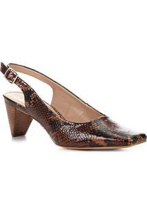 Scarpin Couro Shoestock Animal Print Salto Médio - Feminino-Caramelo