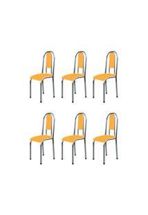 Kit 6 Cadeiras Anatômicas 0.122 Estofada Cromado/Laranja - Marcheli