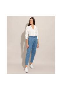 Calça Carrot Jeans Com Pregas Cintura Super Alta Com Cinto Azul Claro