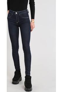 Calça Jeans Feminina Sawary Super Skinny Cintura Alta Azul Escuro