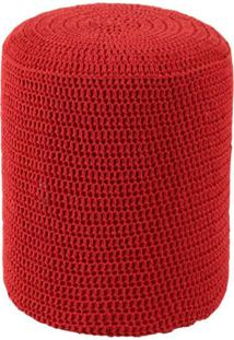Puff Round Crochê Vermelho