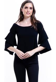 Blusa 101 Resort Wear Viscoly Ombro A Ombro Mangas Flare Babados Preto