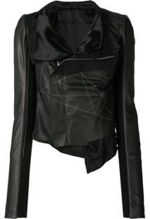 Rick Owens Geometric Embroidered Wrap Jacket - Preto