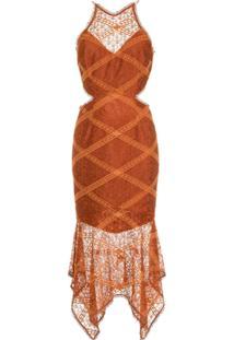 Manning Cartell Vestido Assimétrico Bordado - Marrom