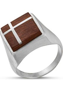 Anel Wooden Design Sinete Com Cruz Em Prata 925 - Madeira E Prata