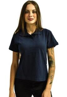 Camisa Rich Polo Básica Lisa Feminina - Feminino-Azul Escuro