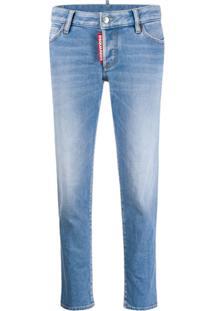 Dsquared2 Calça Jeans Cropped Cintura Baixa Com Tag De Logo - Azul