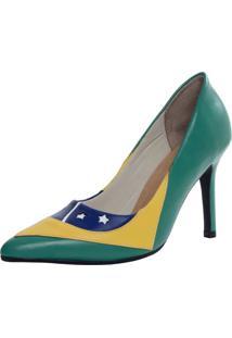 Scarpin Laura Prado Bico Fino Brasil Verde