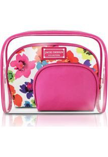 Kit De Necessaire De 3 Peças Jacki Design Aquarela Pink