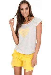 Pijama Curto Inspirate Coração E Renda Feminino - Feminino-Amarelo+Cinza