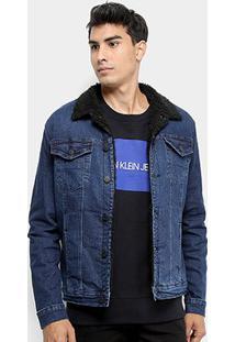 Jaqueta Jeans Calvin Klein Trucker Pelo Masculina - Masculino-Marinho