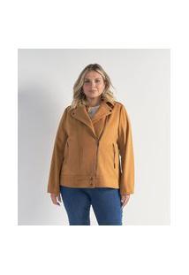 Jaqueta Perfecto Em Polivelour Com Zíper Transversal Curve & Plus Size | Ashua Curve E Plus Size | Marrom | G