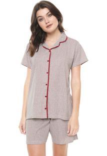 Pijama Pzama Listrado Cinza