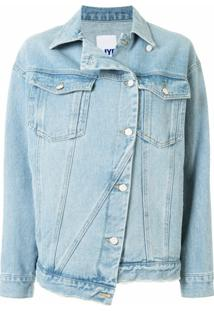 Sjyp Jaqueta Jeans Assimétrica - Azul