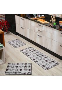 Jogo De Tapetes Para Cozinha- Marrom Escuro & Bege Clarooasis