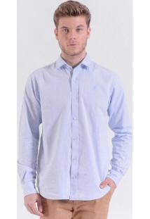 Camisa Oxford Logo Azul Mar