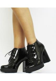 Ankle Boot Carrie Verniz Feminino - Feminino-Preto