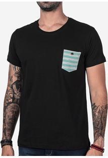 Camiseta Hermoso Compadre Bolso Listrado Masculina - Masculino