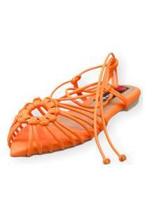 Sandalia Love Shoes Rasteira Bico Folha Amarração Tirinhas Laranja