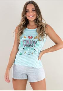 Pijama Mvb Modas Curto Adulto Estampado Shortdoll Cinza Verde - Verde - Feminino - Poliã©Ster - Dafiti
