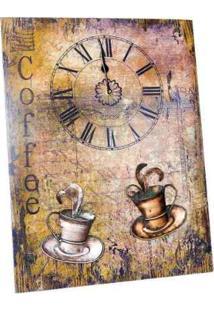 Painel Decorativo Unika Relógio Café 52X40Cm Colorido