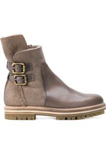 Agl Ankle Boot De Couro - Neutro