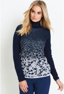 040e49d7fd ... Suéter De Tricô Com Fio Metalizado Azul