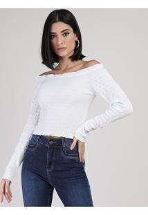 Blusa Feminina Cropped Ombro A Ombro Com Lastex Manga Longa Branca