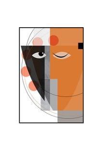 Quadro 90X60Cm Abstrato Geométrico Oriental Masuku Moldura Preta Com Vidro