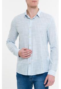 Camisa Ml Ckj Masc Listrado Silk Logo - Azul Claro - P