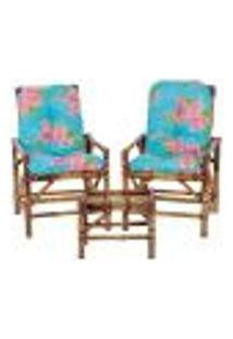 Conjunto Mesa E 2 Cadeiras De Bambu Cancun Para Área Edicula Jardim G11