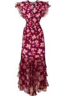 Isolda Vestido Longo Pri Orquídea Estampado - Orquídea F Bordô