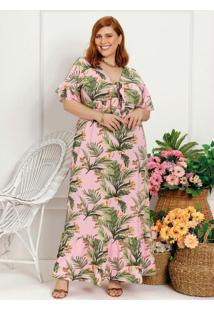 Vestido Longo Plus Size Folhas Com Laço