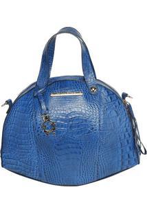 Bolsa De Mão Em Couro - Azul - 27X16X3Cmdi Marlys