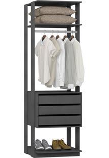 Estante Gaveteiro Be Mobiliário 700 Clothes 3 Gavetas 1 Cabideiro
