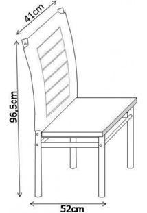 Conjunto Sala De Jantar Tokio Mesa 6 Cadeiras Art Panta Cromado/Marrom Tex