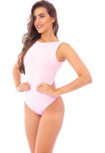 Body Moda Vicio Regata Com Decote Costas Rosa Claro