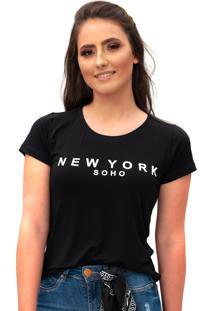 Camiseta Miss Glamour Store New York Preta - Kanui