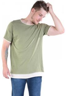 Camiseta Alongada Com Sobreposição Eco Naturaleza